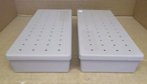 2x Unbranded Grey Sterilization Boxes (Width 16cm)